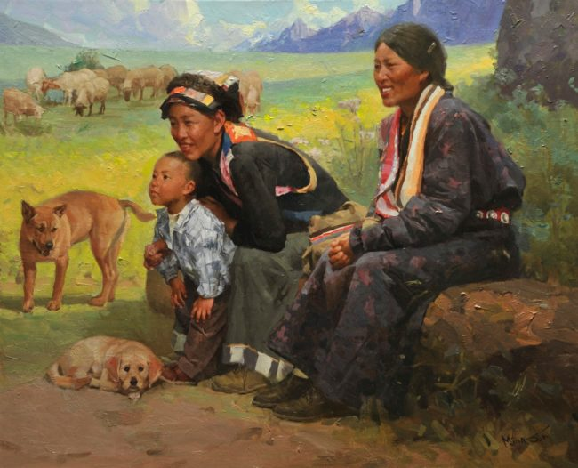 Mian Situ Painting Taking It All In Oil on Canvas