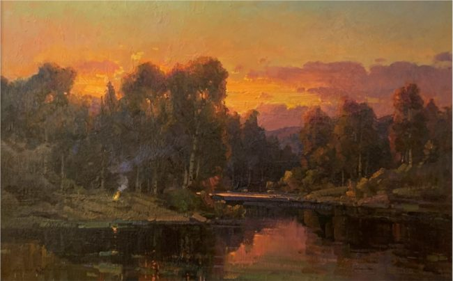 Ovanes Berberian Painting Sunrise by the River's Edge Oil on Canvas
