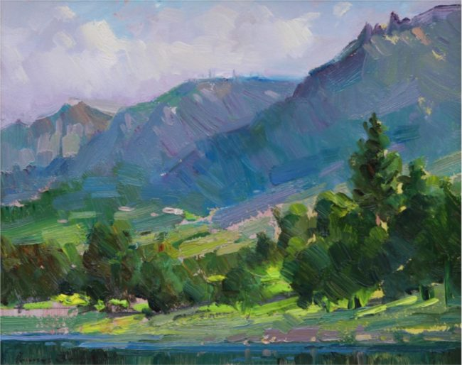 Ovanes Berberian Painting View of Colorado Springs Mountains Oil on Board