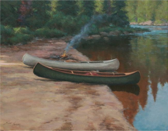Scott Yeager Painting Adirondack Canoes Oil on Canvas