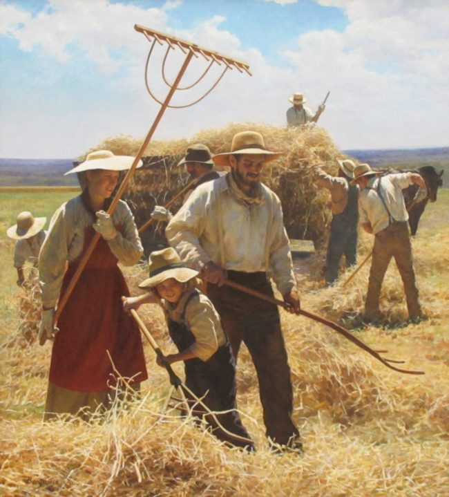 Benjamin Wu Painting Load Up The Hay Wagon Oil on Linen