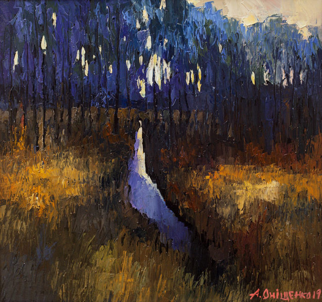 Alexandr Onishenko Painting Woodland Stream Oil on Canvas