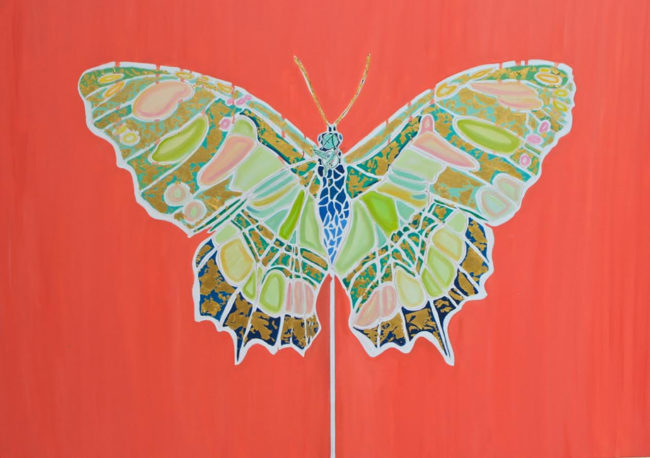 Alexandra Telgmann Painting Butterfly - Hummingbird Oil on Canvas