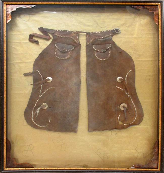 Artist Unknown Mixed Media Shadowbox Chaps Leather