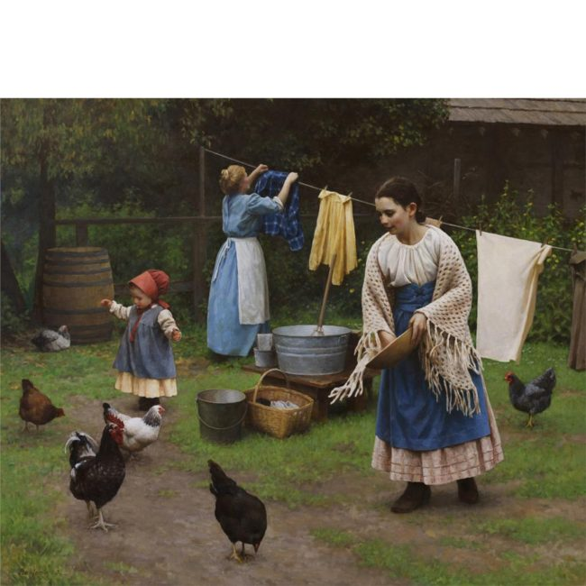 Benjamin Wu Painting Chores on the Farm Oil on Canvas