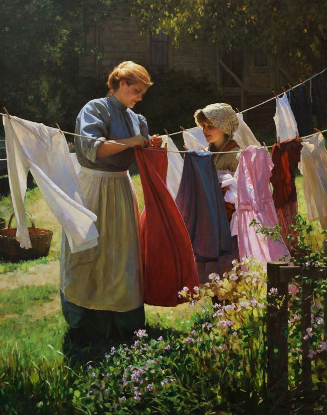Benjamin Wu Painting Laundry Day Oil on Canvas