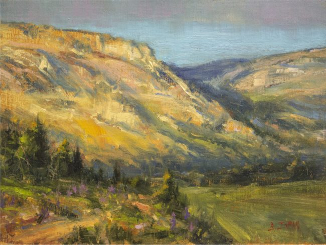 Bill Inman Painting Hiking Colorado Oil on Board
