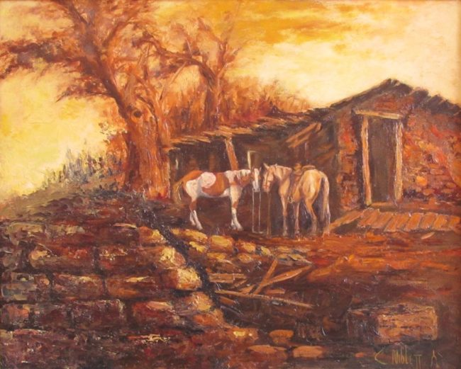 Carroll Niblett Painting The Explorers (1943 Living) Oil on Canvas