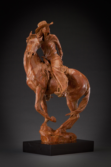 Deborah Copenhaver-Fellows Sculpture The Wind Her Only Guide for Youth was in the Saddle there with Half a World to Ride Bronze