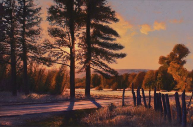 Dix Baines Painting October Sunset Oil on Board
