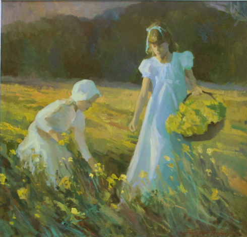 Don Hatfield Painting Mustard Field Outing Oil on Canvas