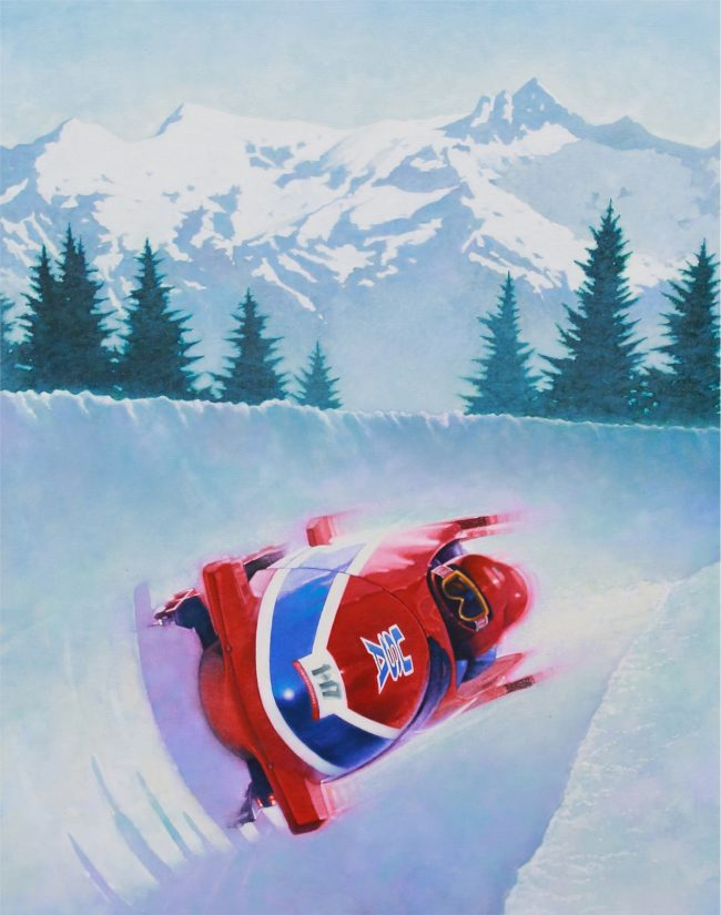 Frank Steiner Painting Bobsled Oil on Board