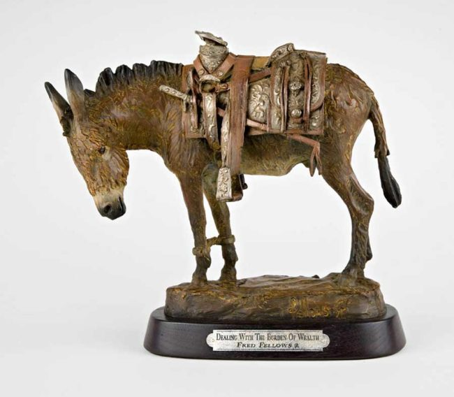 Fred Fellows CA Sculpture Dealing with the Burden of Wealth Bronze