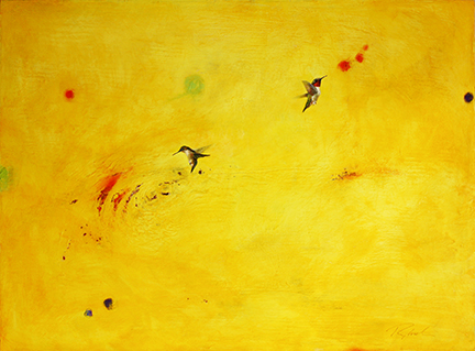 Greg Ragland Painting A Pair of Ruby Throats in Yellow with Many Shapes Acrylic on Canvas