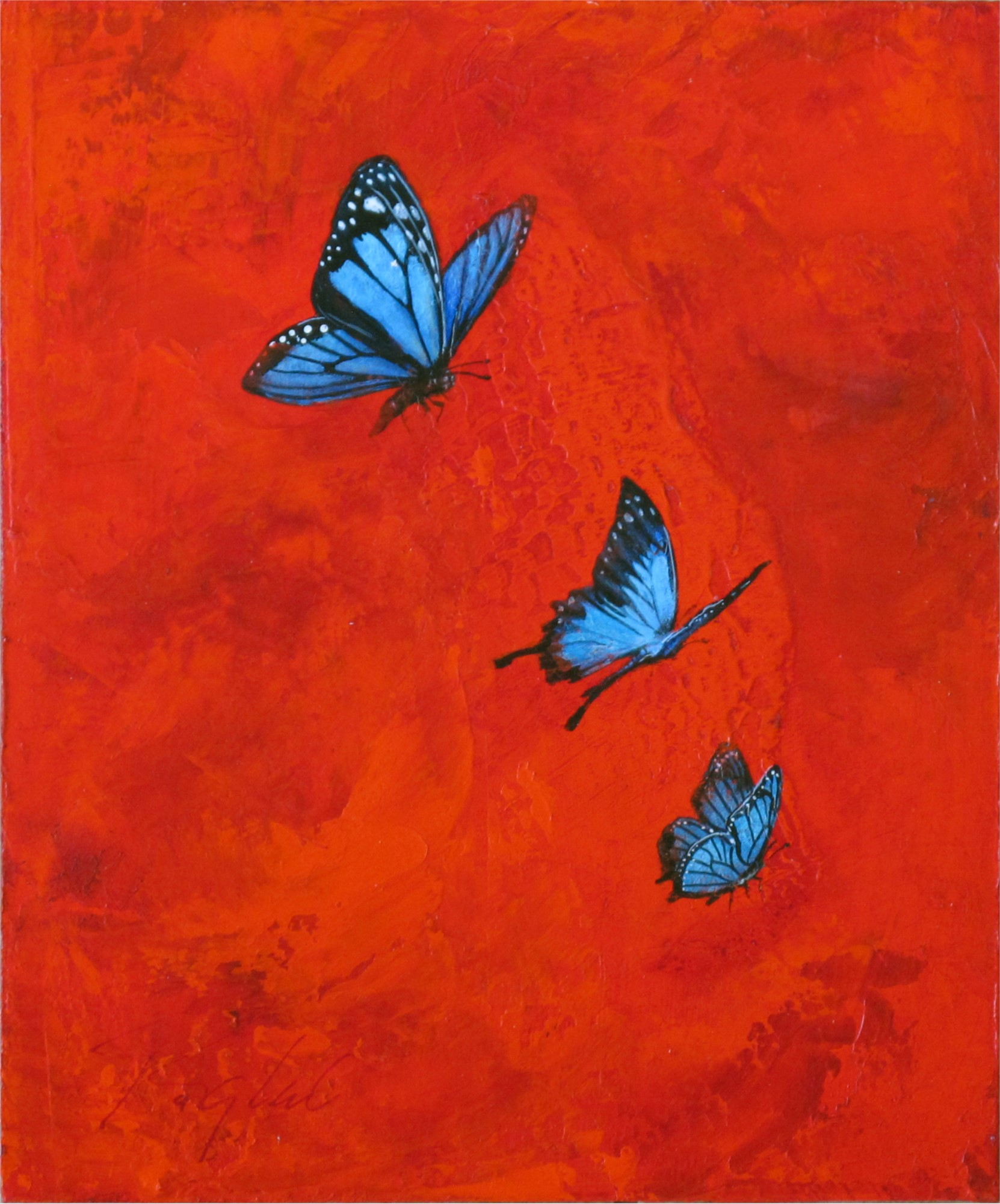 Greg Ragland Painting Blue Butterflies in Red II Acrylic ...