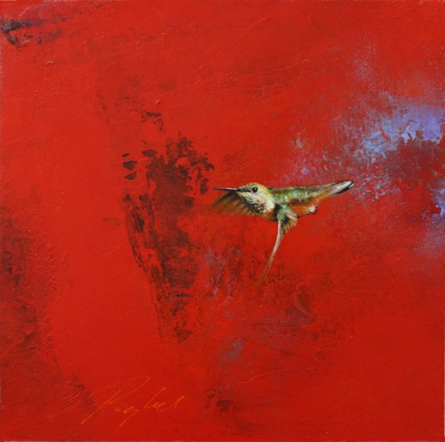 Greg Ragland Painting Flight in Red Acrylic on Panel