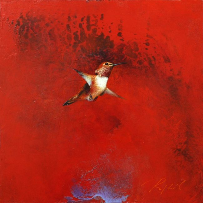 Greg Ragland Painting One Rufous in Red Acrylic on Panel