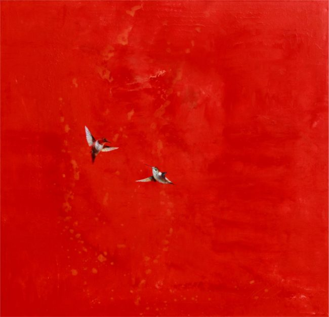 Greg Ragland Painting Red & Orange Around A Couple of Rufous Acrylic on Canvas