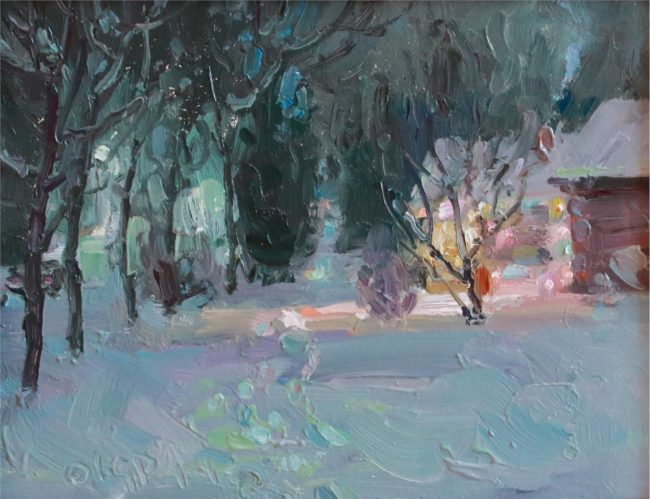 Gregory Packard Painting Christmas Lights Oil on Panel