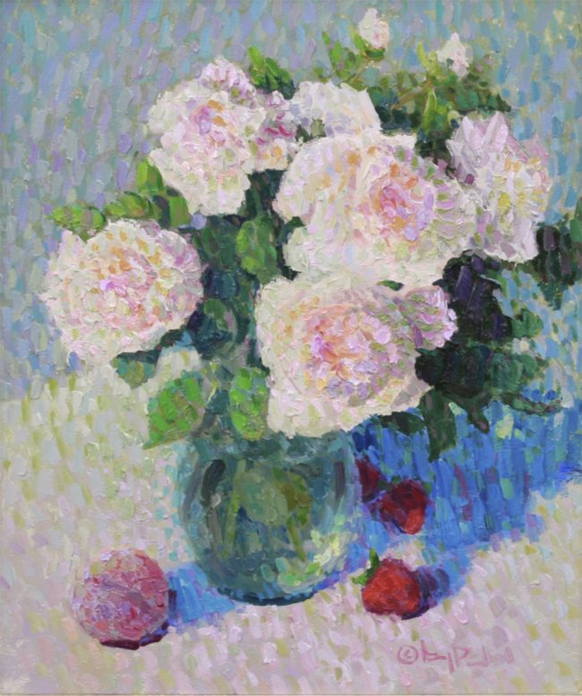 Gregory Packard Painting Heirloom Roses Oil on Panel