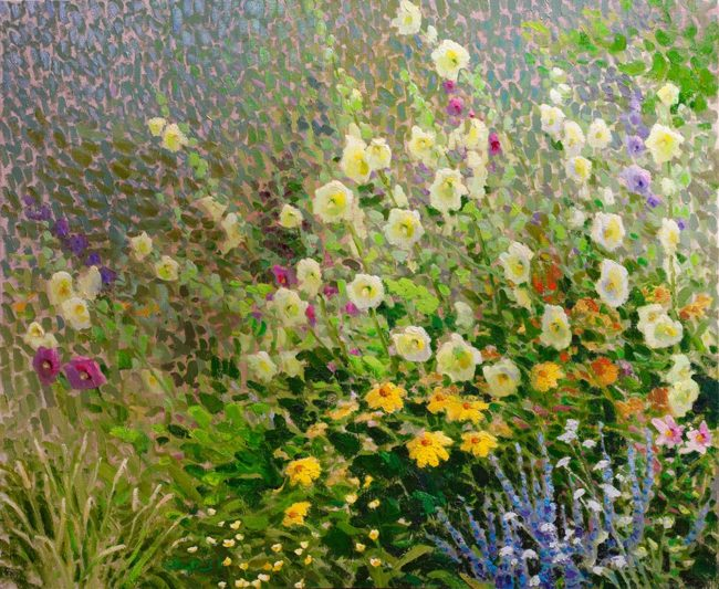 Gregory Packard Painting Hollyhocks Oil on Panel