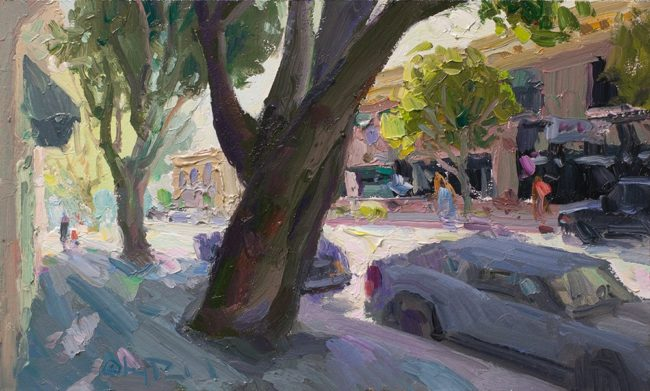 Gregory Packard Painting Summer Sidewalks Oil on Panel