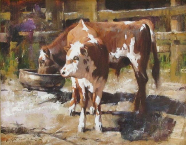 Howard Rogers Painting Jim's Calves Oil on Canvas