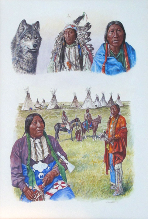 Hubert Wackerman Painting Sioux 1977 Watercolor & Paper