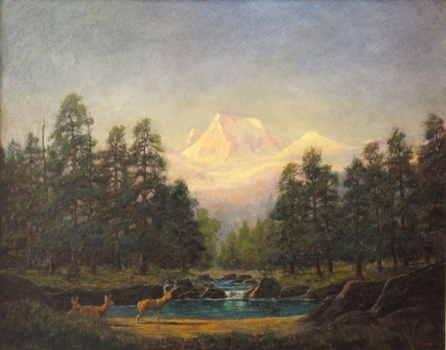 Jerry Malzahn Painting Longs Peak Sunrise Oil on Board