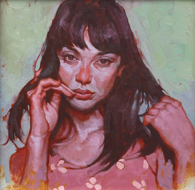 Joseph Lorusso Painting Sultry Look - Study Oil on Panel