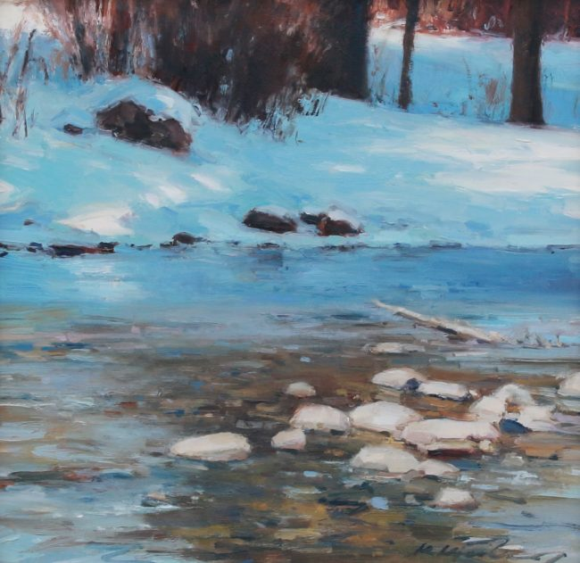 Kate Kiesler Painting Winter Stream in Sunlight Oil on Board