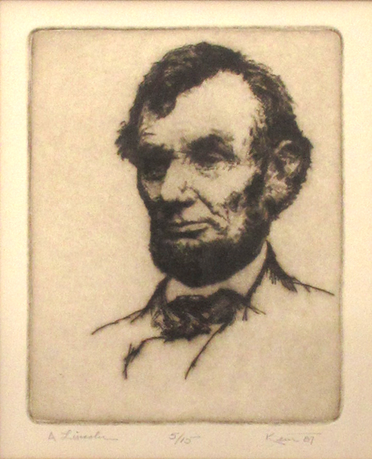 Kent Talmage-Bowers Printmaking A. Lincoln Etching