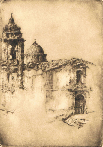 Kent Talmage-Bowers Printmaking Ancient Sicily Etching