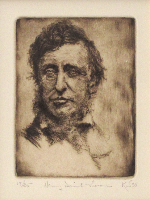 Kent Talmage-Bowers Printmaking Henry David Thoreau Etching