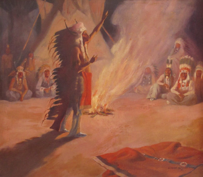 Leonard Reedy Painting The War Council Oil on Board