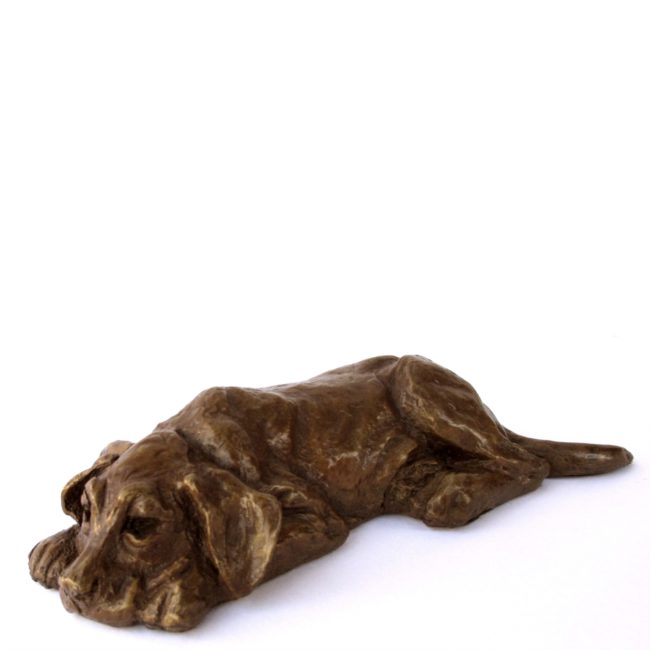 Mark Dziewior Sculpture Tuckered Out - Chocolate Patina Bronze