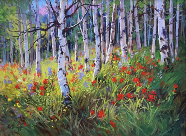 Martha Mans Painting Aspen Song Oil on Canvas