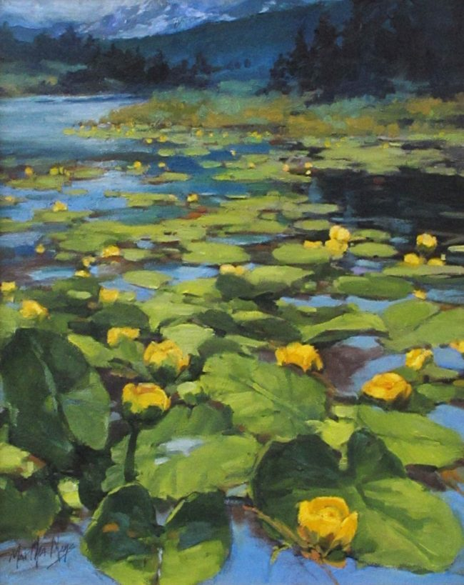 Martha Mans Painting Lilies of the Lake Oil on Board