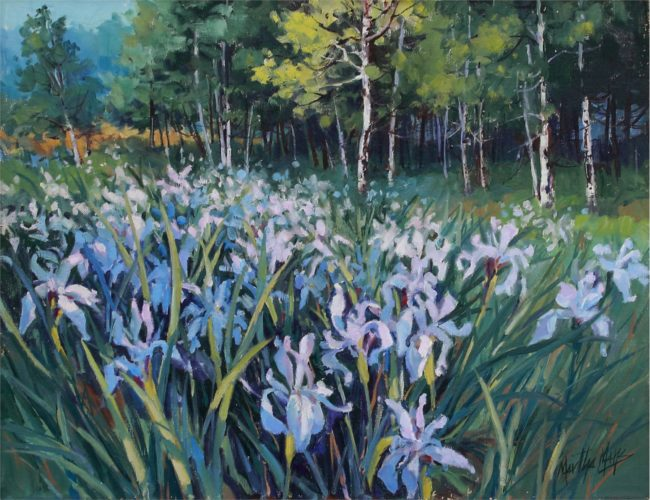 Martha Mans Painting Mountain Irises Oil on Canvas