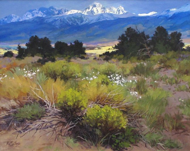 Martha Mans Painting Pikes Peak From Plum Creek Oil on Canvas