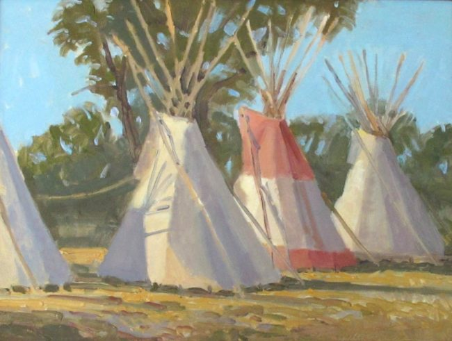 Mel Fillerup Painting The Red Teepee - Crow Indian Fair Oil on Canvas