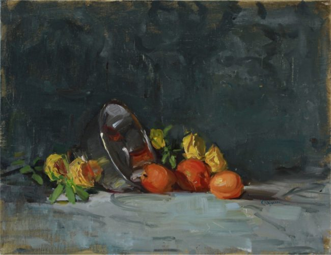 Nancy Chaboun Painting Apricots and Roses Oil on Board