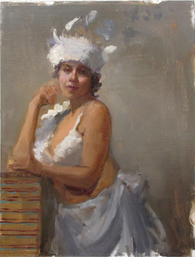 Nancy Chaboun Painting Burlesque Oil on Board