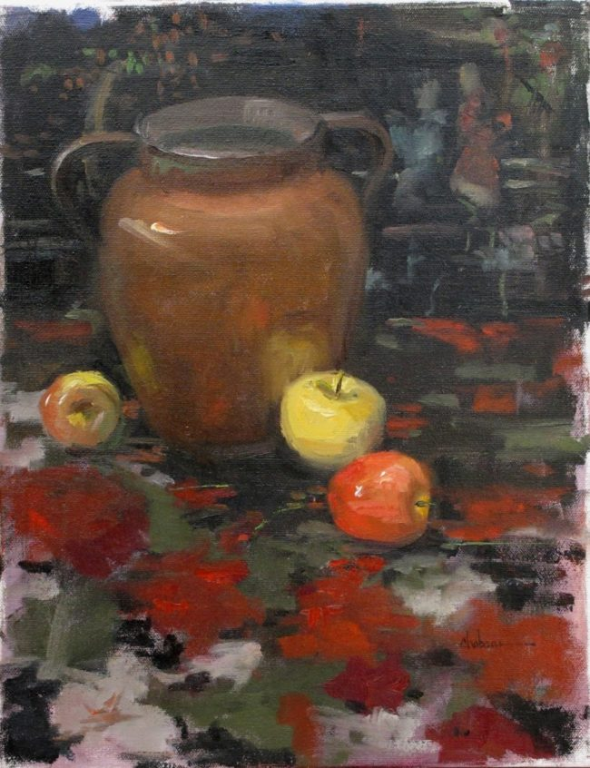 Nancy Chaboun Painting Copper Apple Oil on Board