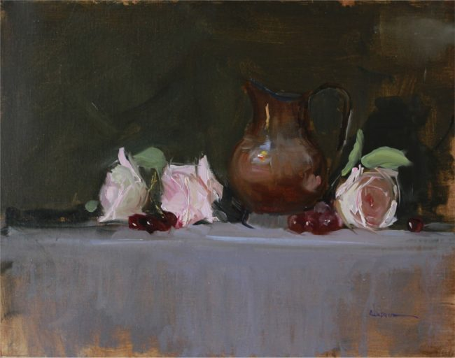 Nancy Chaboun Painting Copper Rose Oil on Board