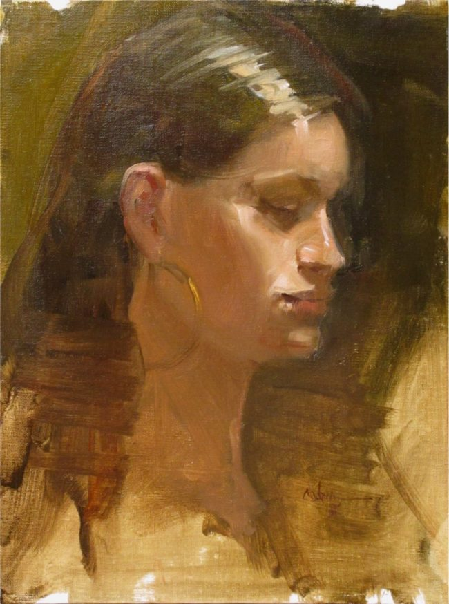 Nancy Chaboun Painting Deep Thoughts Oil on Board