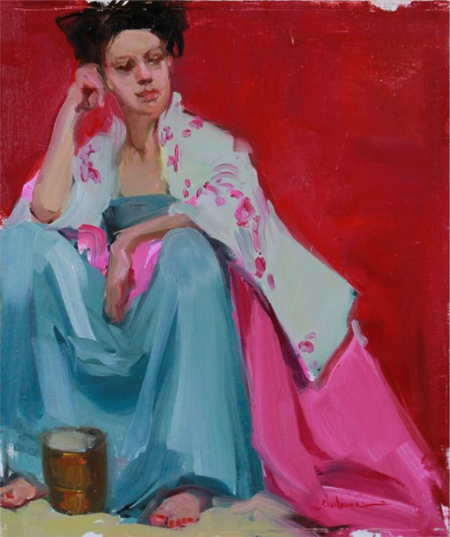 Nancy Chaboun Painting Pondering Oil on Board