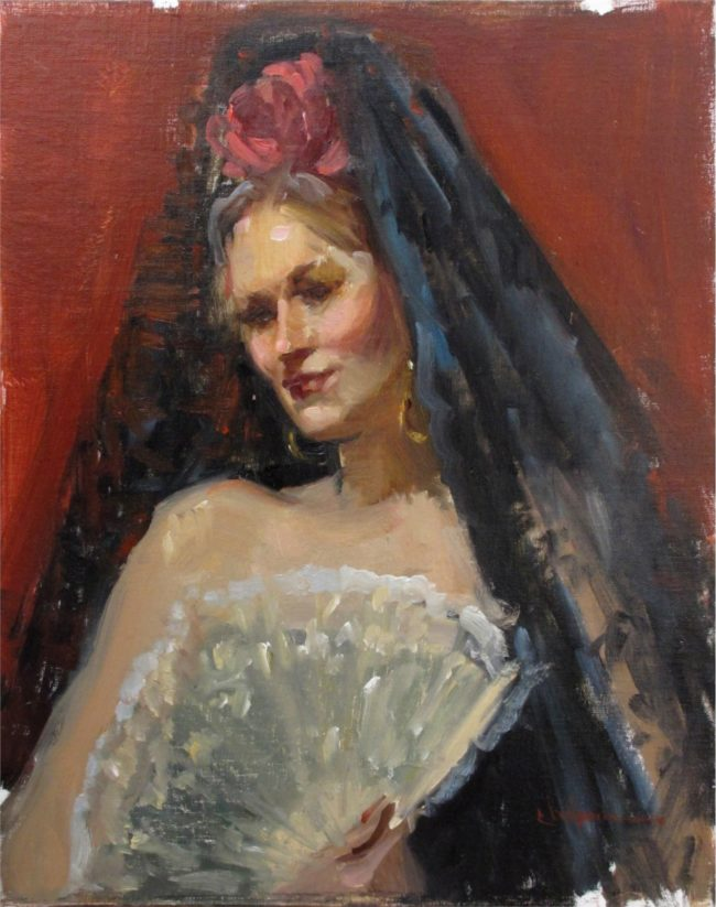 Nancy Chaboun Painting The Mantilla Oil on Board