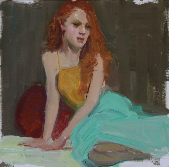 Nancy Chaboun Painting The Redhead Oil on Board