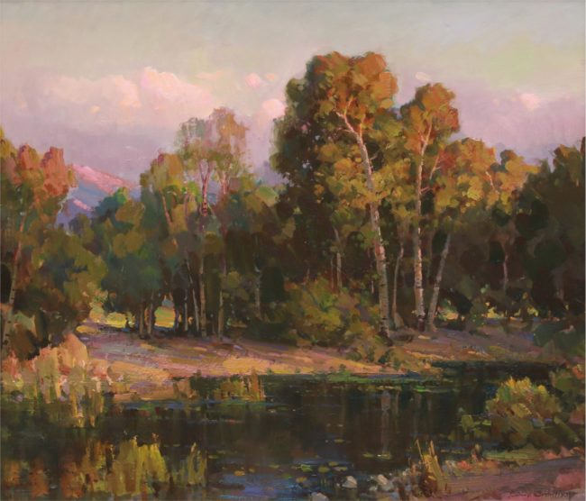Ovanes Berberian Painting Forest Pond Oil on Canvas